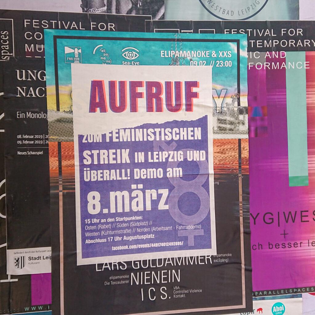 Ein Plakat des feministischen Streikbündnisses in Leipzig