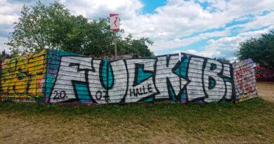 """Identitäre Stoppen: Auf einer Wand steht """"FUCK IB 20.07. Halle"""""""