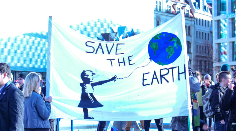 "Globaler Klimastreik: Ein Transparent mit der Aufschrift ""Save the earth"""